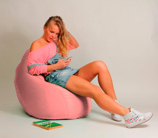 Кресло Груша Детская розовая