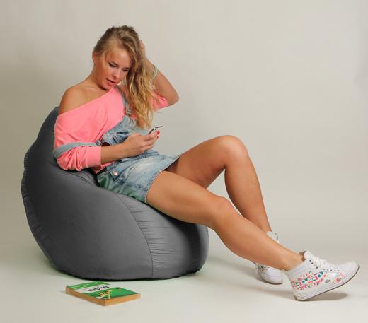 Кресло мешок Груша Детская Серая