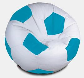 Кресло мешок футбольный мяч бело-бирюзовый