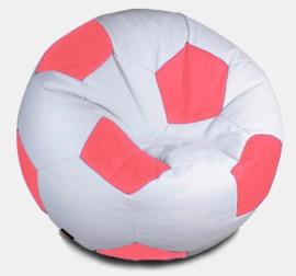 Кресло мешок футбольный мяч бело-коралловый