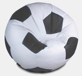 Кресло мешок футбольный мяч бело-серый