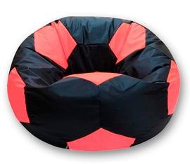 Кресло мешок футбольный мяч черно-коралловое