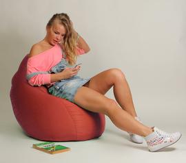 Кресло мешок Груша Детская Коралловая